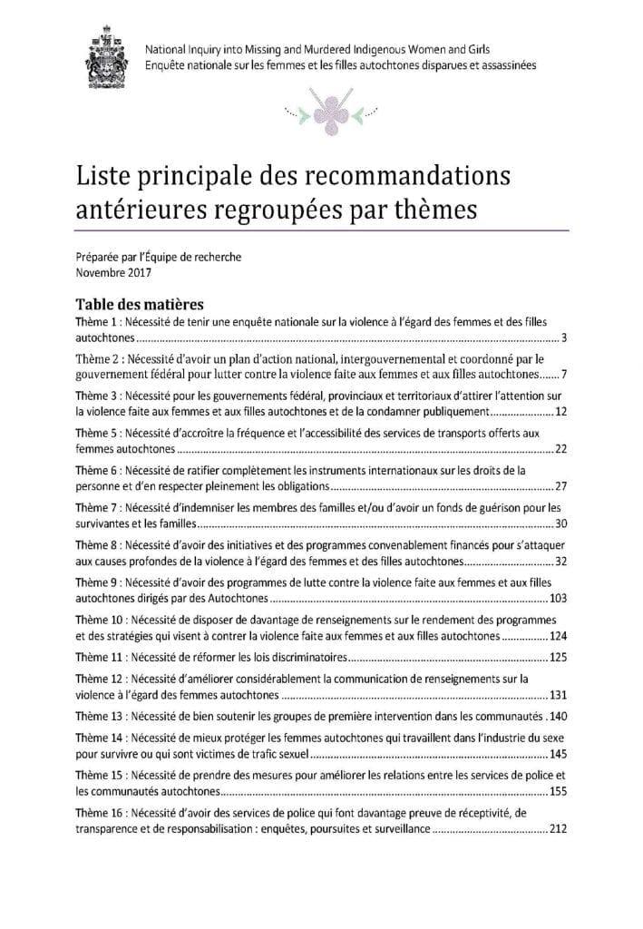 Liste principale des recommandations antérieures regroupées par thèmes